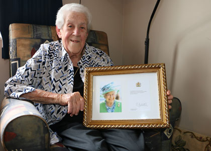 blessed rose boyer with her congratulatory letter from queen elizabeth ii photo supplied